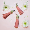 Millennial Pink Tassel with Palm Print Bead Keychain