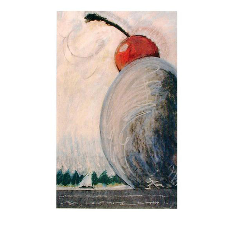 View of Spoonbridge and Cherry, with Sailboat and Running Man Notecard