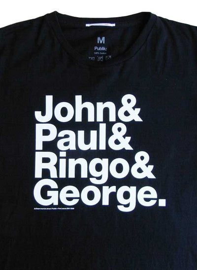 Experimental Jetset John & Paul & Ringo & George T-Shirt Small / White Text / Black Shirt from Experimental Jetset - 3
