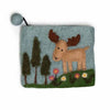 Moose in Forest Hand-felted Zip Pouch