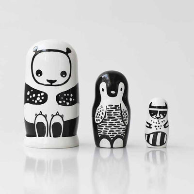 Nesting Dolls: Panda, Penguin & Raccoon