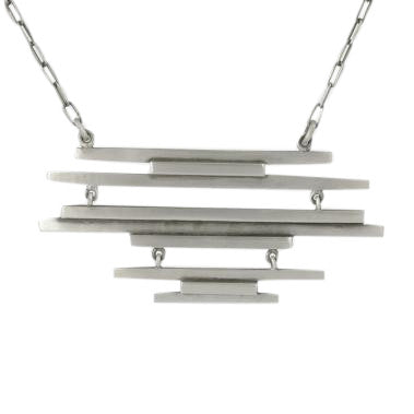Sterling Silver Mid-Century Stacked Bar Necklace
