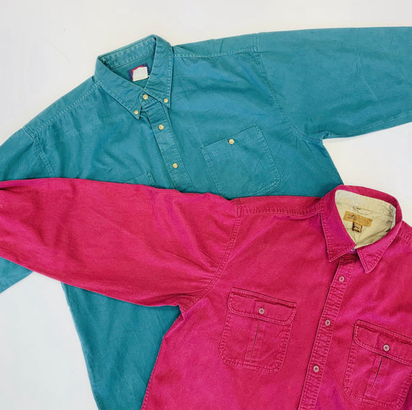 45kg 90s Coloured Heavy Cotton/Denim Shirts - BALE
