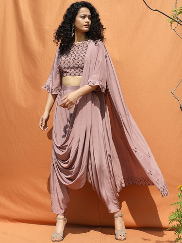 Mauve Indo Western Saree - satyaselection.com