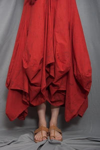 The Bastille Red Ruffle Cowl Dress - satyaselection.com