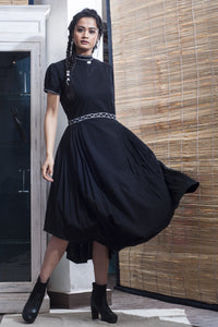 The Onassis Tie Swing Dress - Black - satyaselection.com