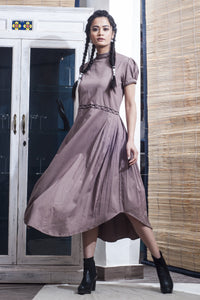 The Onassis Tie Swing Dress - Mauve - satyaselection.com