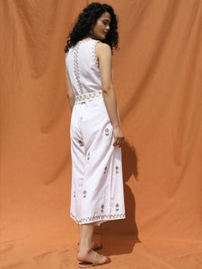 White and Gold Plush Loose Fitting Jumpsuit - satyaselection.com