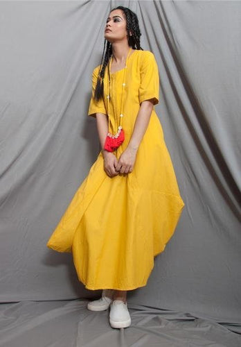 Yellow Organic Cotton Boho-esque Dress - satyaselection.com
