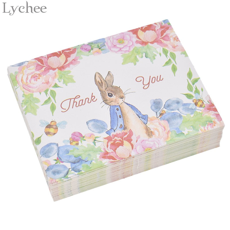 Cute Rabbit in a field of Flowers THANK YOU Cards Pack of 50