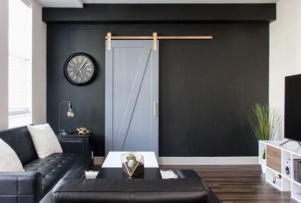 Darker room with white sliding barn door