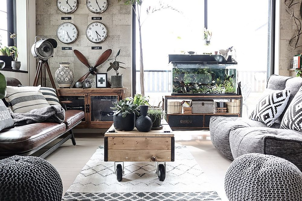 modern industrial living room with clocks and gears
