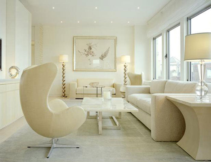 beige living room with all matching furniture