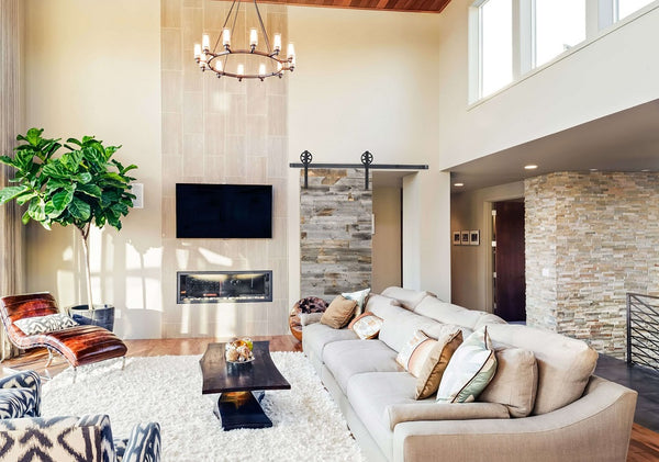 big living room with couch and nice decor