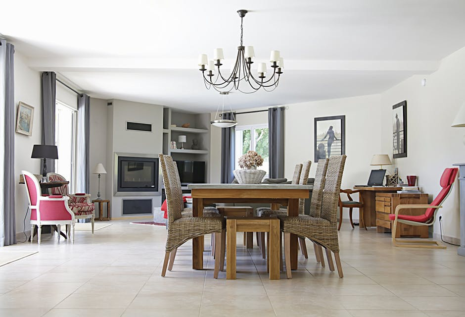 dining room with chandelier and dining table set