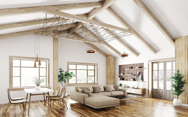 Craftsman style living room with natural light
