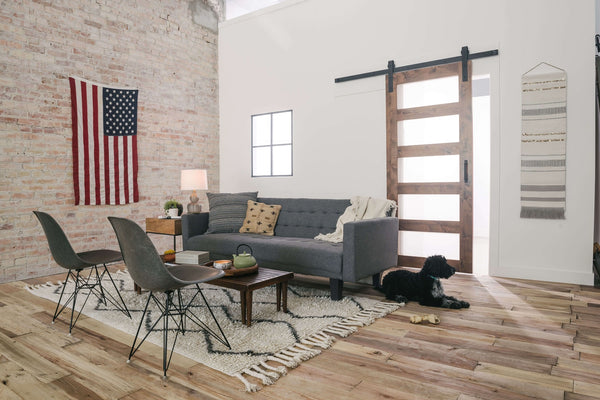 rustic living room example with American flag