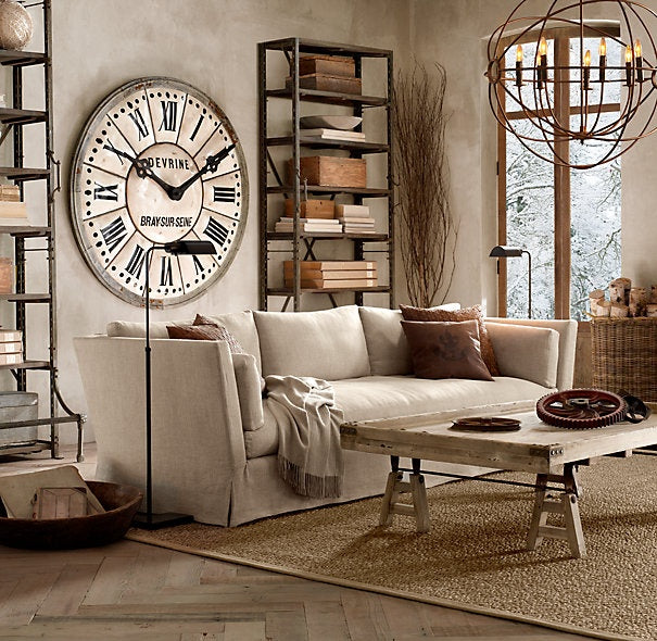 industrial room with clock and shelves