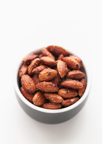 vegan spicy pan roasted almonds