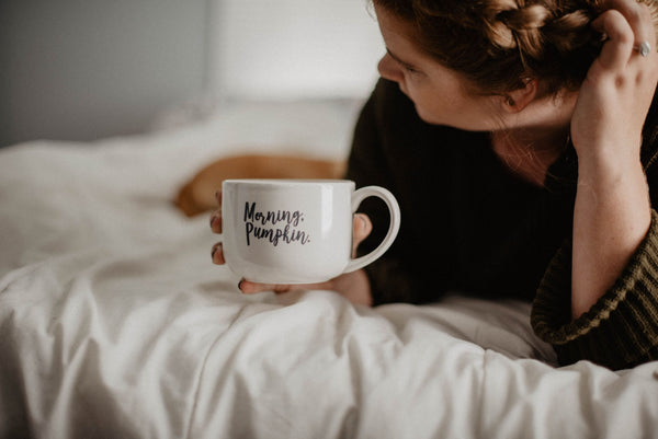 girl in morning with mug