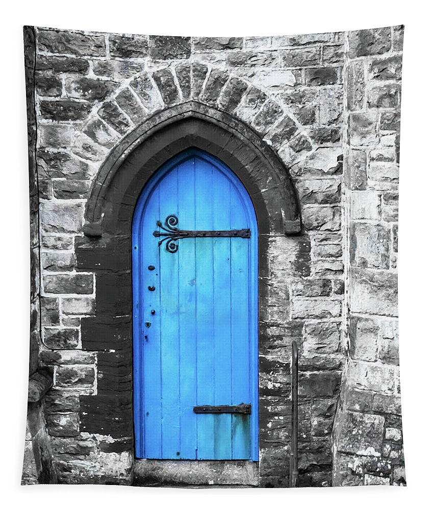 A Blue Church Door Penzance Cornwall  - Tapestry - RW Jemmett