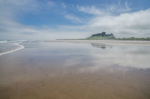 Bamburgh Castle and Beach - Northumberland, Landscape, C-Type