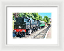 Load image into Gallery viewer, Black Steam Engine Driver Conversation - Framed Print - RW Jemmett