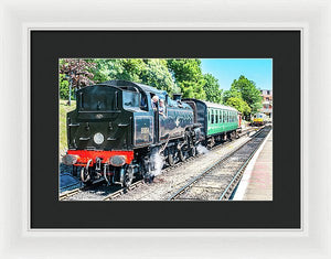 Black Steam Engine Driver Conversation - Framed Print - RW Jemmett