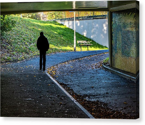 Silhouette Of Person In Subway Underpass - Canvas Print - RW Jemmett