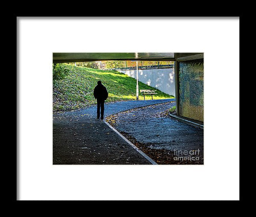 Silhouette Of Person In Subway Underpass - Framed Print - RW Jemmett