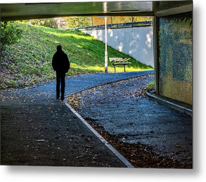 Silhouette Of Person In Subway Underpass - Metal Print - RW Jemmett