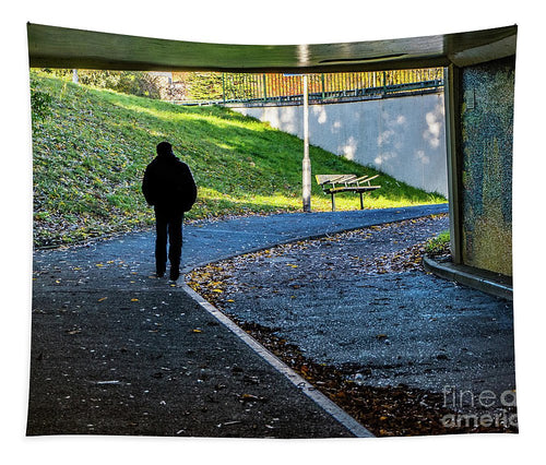 Silhouette Of Person In Subway Underpass - Tapestry - RW Jemmett
