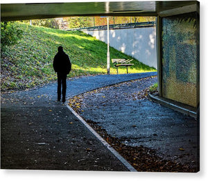 Silhouette Of Person In Subway Underpass - Acrylic Print - RW Jemmett