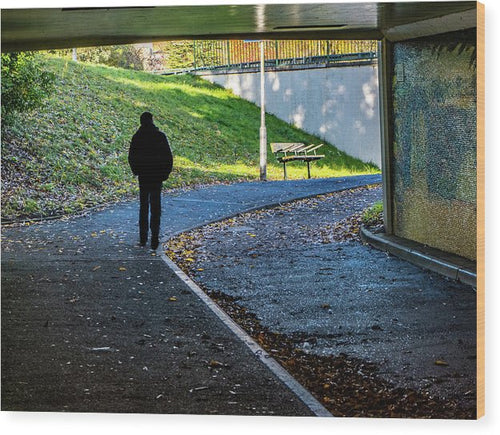 Silhouette Of Person In Subway Underpass - Wood Print - RW Jemmett