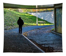 Load image into Gallery viewer, Silhouette Of Person In Subway Underpass - Tapestry - RW Jemmett