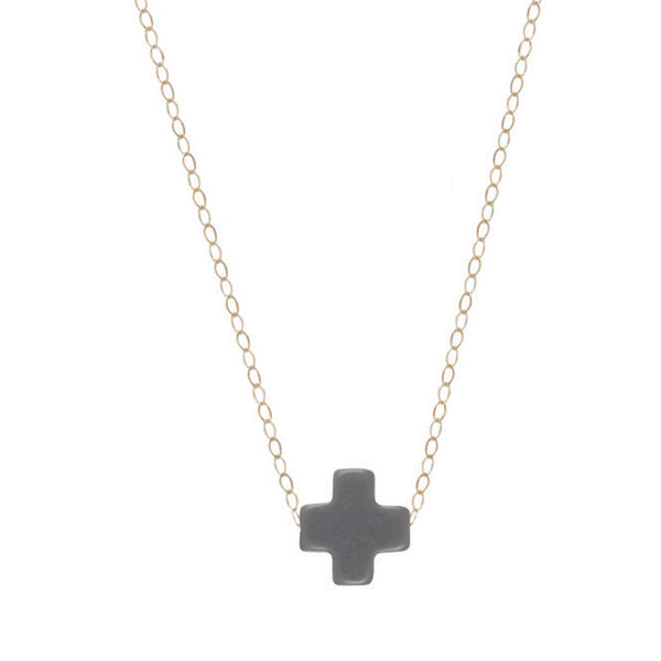 Enewton Signature Gold Cross Necklace charcoal