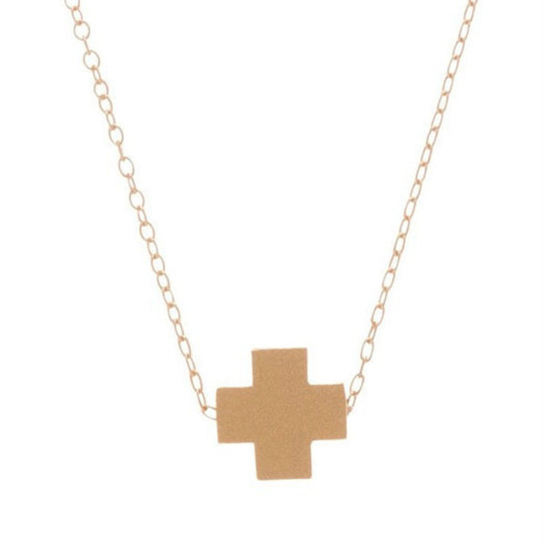 Enewton Signature Gold Cross Necklace matte gold