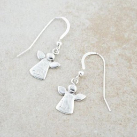 Holly Lane Sterling Silver Angel Earrings