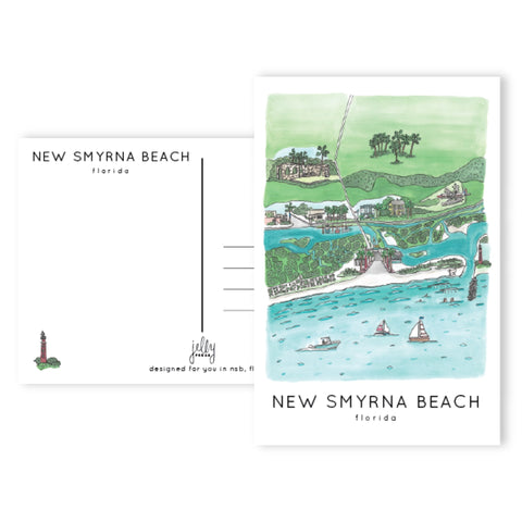 Jelly Press New Smyrna Beach Aerial Postcard