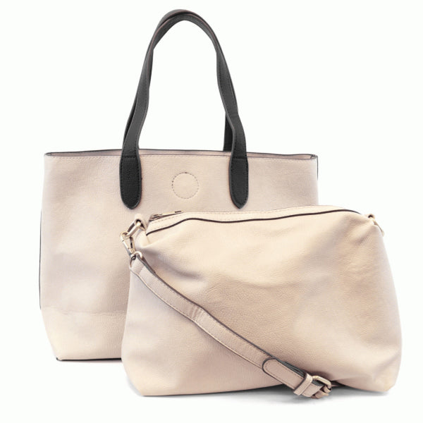 Joy Susan Mariah Tote Bag stone black front 2 in 1