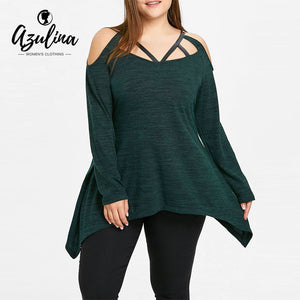 AZULINA Women T shirt V-Neck Long Sleeves Asymmetric Caged Strappy Ladies Tops Casual Winter T-shirt PlusSize Women Clothing 5XL