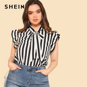 SHEIN Black and White Striped Preppy Elegant Tie Neck Ruffle Women Tops and Blouses Womens Plus Size Fashion Tops Summer Blouse