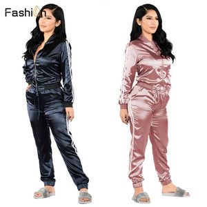 Sexy Two Piece Set Top and Pants Women Long Sleeve Suits Summer Ladies Set Tracksuit Sets Blue Pink Outfits Plus Size Clothes