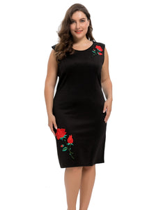 Chicwe Women's Stretch Scuba Plus Size Sheath Dress with Rose Embroidery 1X-4X