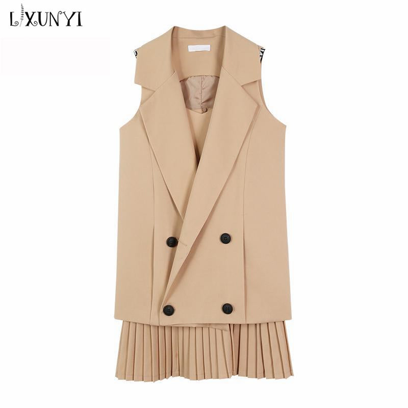 2018 Autumn Summer Women Pleated Dress + Vest Suit Two Piece Set Outfits Female Formal Double Breasted Sleeveless Plus Size 4XL