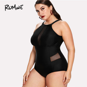 Romwe Sport  Mesh Panel High Neck Swimsuit One-Piece 2018 Plus Size Women Plain Monokinis Summer Polyester Black One-Piece