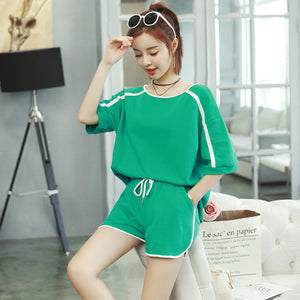 New Summer Women T Shirts Tops Casual Short Sleeved Sportswear Plus Size XL-4XL Two Piece Suit Sets Spliced Elastic Waist Shorts