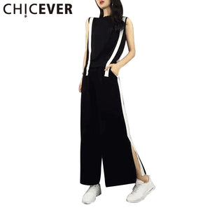 CHICEVER 2018 Summer Two Pieces Set Women Suit Slim Sleeveless T shirts +Elastic Waist Split Sexy Casual Plus Size Female Pants