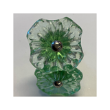 Knobs - Clear Green Flat Flower