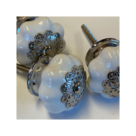 Knobs - White Melon with Silver Filigree